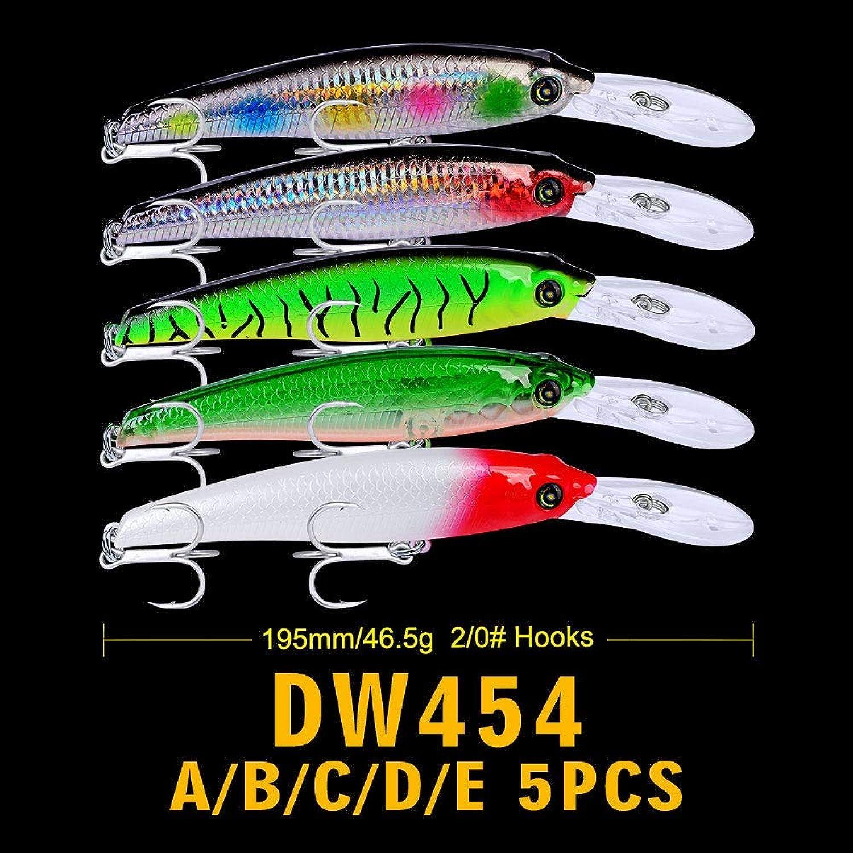Generic 5PCS 46.5g1.64oz Wobbler Fishing Lure Big Crankbait Minnow Peche Bass Trolling Artificial Bait 19.5cm7.68  Pike Carp Lures ABCDE
