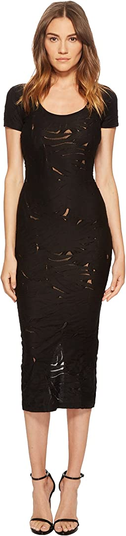 Versace Jeans - Short Sleeve Sheer Designed Midi Dress