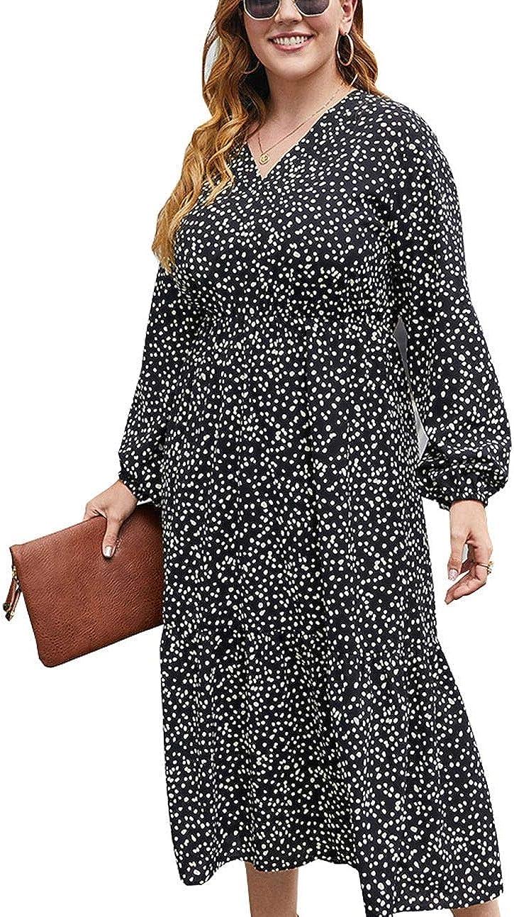 YOXUA Womens Plus Size Maxi Dresses, Long Sleeve Polka Dot V Neck High Waist Elegant Flowy Casual Dress