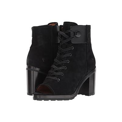Frye Danica Lug Combat (Black Soft Oiled Suede/Smooth Full Grain) High Heels