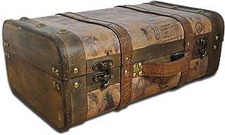 SAFE Houten koffer, ideaal als huwelijksgeschenk voor bruidspaar, geldgeschenk, houten kist met drager en handvat, schatki...