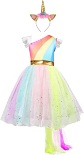 Girls Unicorn Dress with Headband Princess Dressing Up Costume Outfit Rainbow Age 2-8 Years