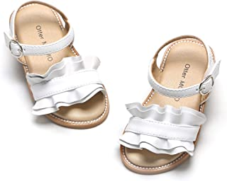 Otter MOMO Girls Sandals Open Toe Princess Flat Sandals with Ruffle Summer Sandals (Toddler/Little Kid)