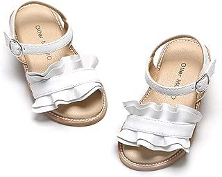 Otter MOMO Girls Sandals Open Toe Princess Flat Sandals with Ruffle Summer Sandals (Toddler/Little Kid)