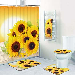 Pknoclan 5 Pcs Sunflowers Shower Curtain Sets with Rugs and Towels, Include Non-Slip Rug, Toilet Lid Cover, Bath Mat and 12 Hooks, Flower in The Sunset Shower Curtain Waterproof Bath Curtain