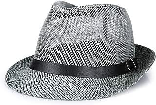 HongJie Hou Summer Linen Visor hat, Sun hat, Outdoor Straw hat (Color : Grey, Size : M56-58cm)