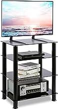 RFIVER Mueble HiFi Mesa TV Cristal con 4 Estante para Equipos de Medios Audio Video HF1001