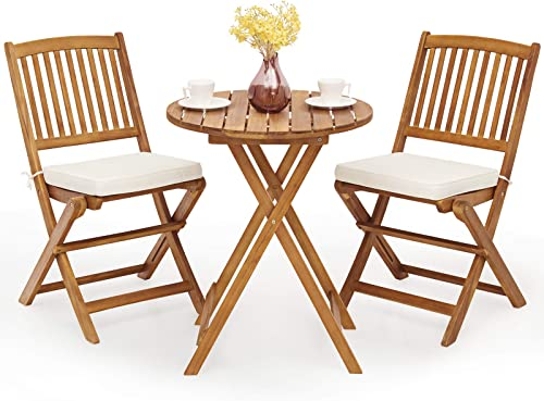 high quality Giantex 3Pcs Patio Bistro Set, Wood Folding Table Set, 2 Cushioned Chairs outlet online sale for Garden Yard, Outdoor Furniture discount Round Table (Natural & Beige) sale