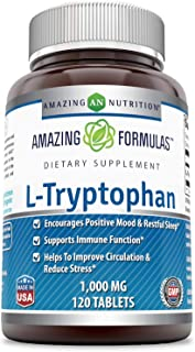 Amazing Formulas L-Tryptophan - 1000 Mg,120 Tablets (Non-GMO,Gluten Free) - Encourages Positive Mood & Rest...