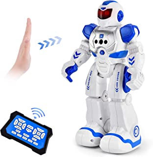 Cradream Toy Robots for Kids RC Robot Remote Control by 6 Year Old boy Gesture Sensing, Singing Dancing Programmable Robot Christmas Birthday Gift Age 3-12(Blue)