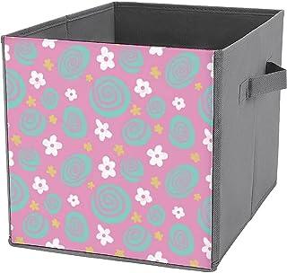 Cubes de rangement pliables en toile avec imprimé rose pastel - Grande capacité - Panier de rangement pliable et panier à ...