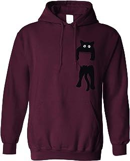 Funny Cute Cat Hoodie Black Kitten in Pocket Hooded Jumper