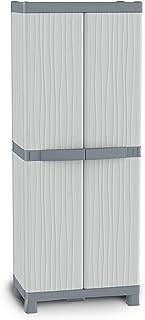 Terry Base 2700 UW Armoire d'Intérieur et d'Extérieur à 2 Portes, 4 Étagères Réglables et 2 Plateaux, Gris, 70x43,8x181,8 cm