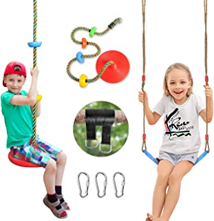 SUNCITY Swing Set 2 Pack Swings Seats Tree Climbing Rope Swing Multicolor with Platforms, Outdoor Toys for Kids Ages 3+, O...