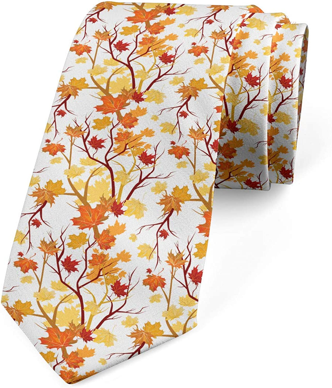 Ambesonne Men's Tie, Autumn Season Elements Nature, Necktie, 3.7