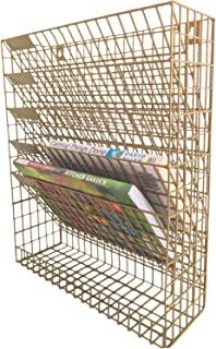 Wall File Wire Mesh Organizer Hanging Letter Mail Bill Document Sorter Wall Mount Holder Gold for Office Home Entryway and Kitchen