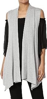Sleeveless Waterfall Jersey Cardigan Lightweight Draped Layering Vest