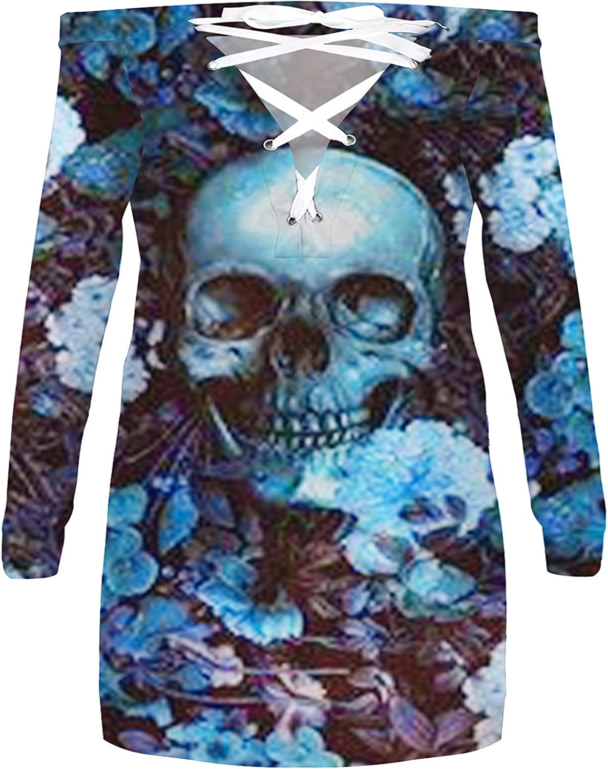 Women's Cold Shoulder Halloween Tops Long Sleeve Fall Fashion Exotic Clothes Sexy Lace Up Skull Graphic Tunic Blouses