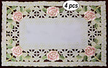 Creative Linens 4PCS Embroidered Rose Daisy Floral Pastel Placemats 11x17 Ivory Spring, Set of 4 Pieces