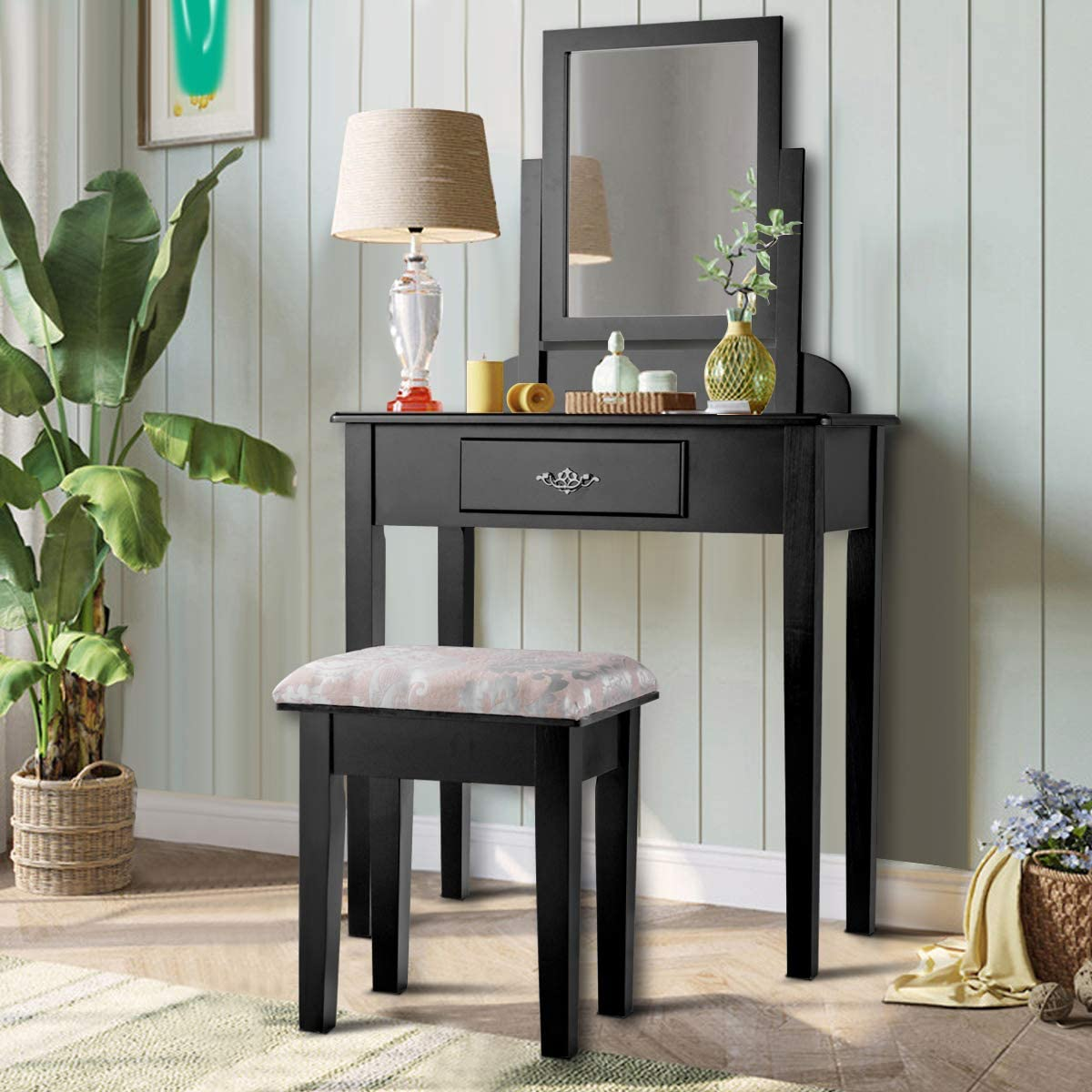 Giantex Vanity Dressing Table Stool Fu Set Vanities Manufacturer regenerated product for Bedroom Genuine Free Shipping