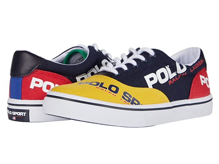 Polo Ralph Lauren Kids  Thornton (Big Kid) (Navy/YellowithRed/Green Canvas/Polo Sport Logos) Boys Shoes