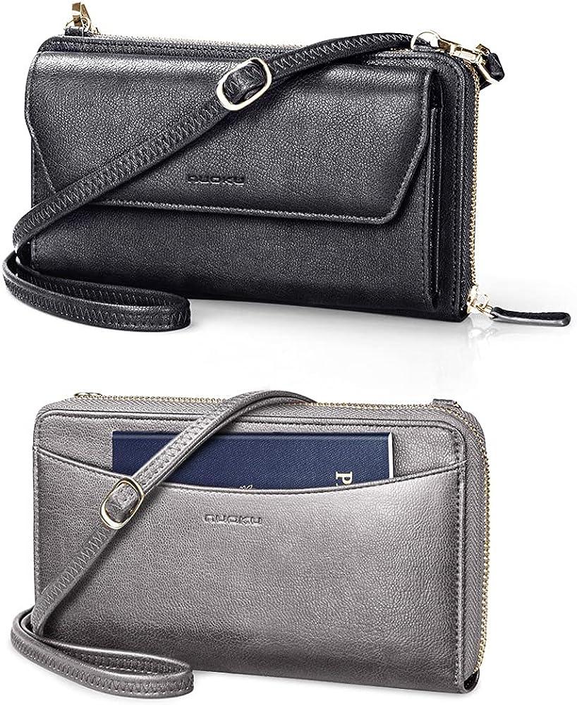 nuoku Black RFID Wallet Purse Wristlet Crossbody Clutch+ Grey Passport Holder RFID Blocking Travel Wallet for Women