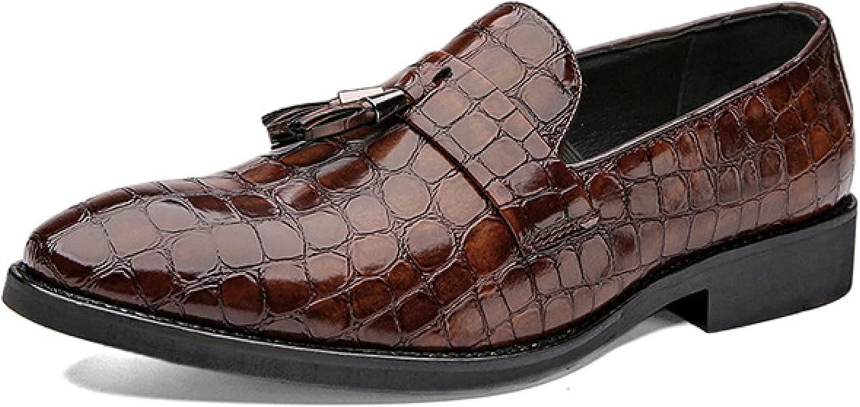 Btrada Men's Walking Slip-on Loafer Shoes Handmade Leather Business Tassel Gentlemen Crocodile Pattern Loafers for Bridegroom