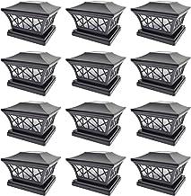 iGlow 12 Pack Black 6 x 6 Solar Post Light Frosted Lens SMD LED Deck Cap Square Fence Landscape PVC Vinyl Wood