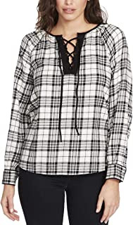William Rast Meg Plaid Lace-up Top