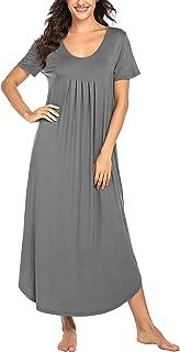 Women's Short Sleeve Long Nightgown Summer Sleep Dress Soft Pleated Nightshirt Sleepwear Lounge Dresses