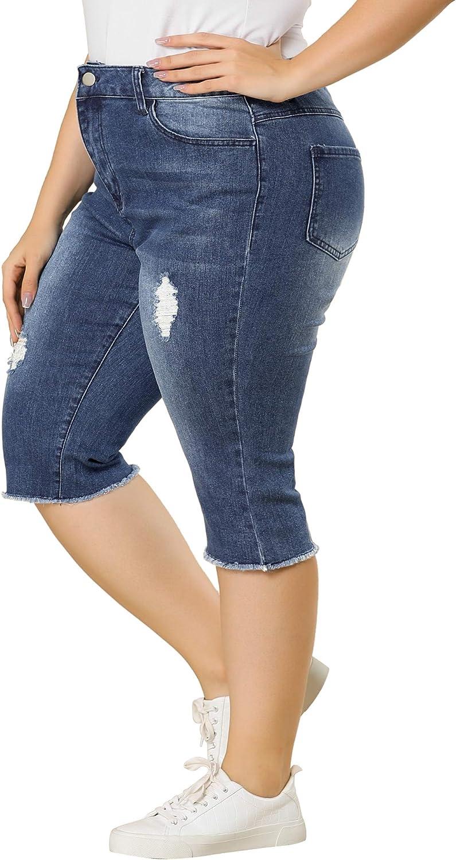 Agnes Orinda PlusSizeJeans for Women Ripped Slash Pocket Raw Hem Denim Capri Jean
