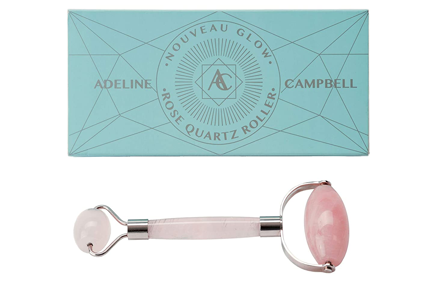 Rose Quartz Face Roller   Highest quality of any jade roller or quartz roller on the market   Use to massage face, depuff and roll eyes   Stainless steel frame will not rust