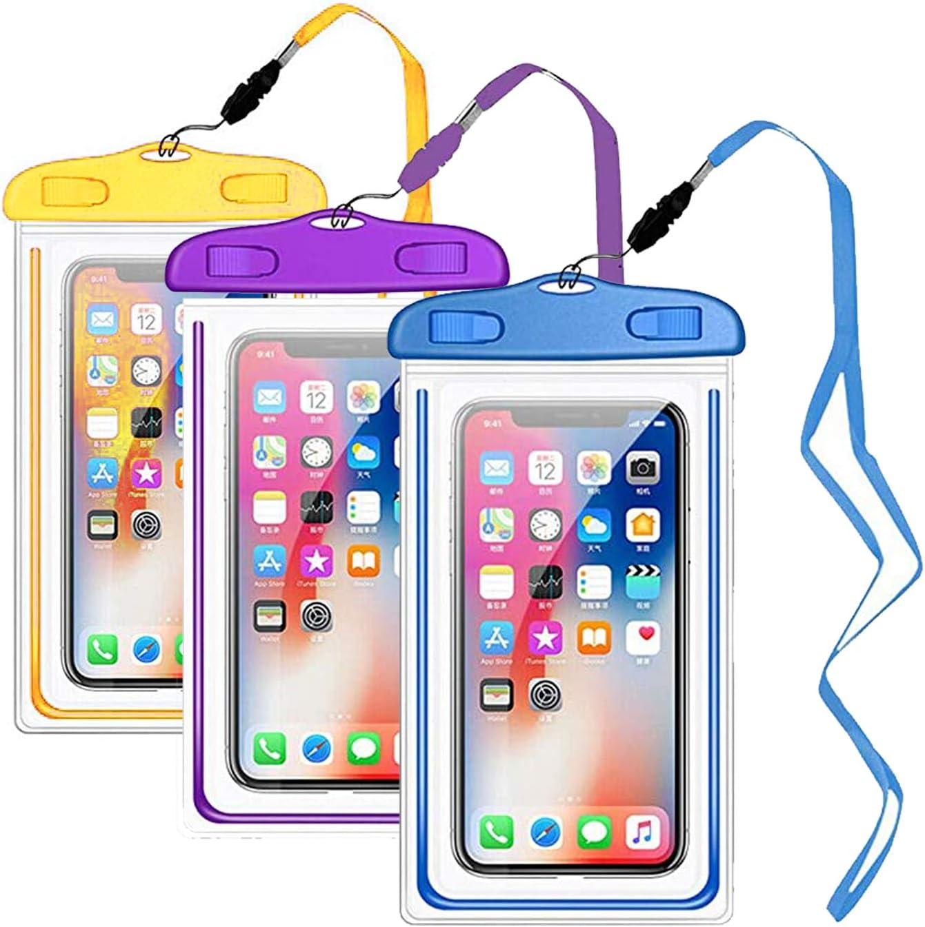 YOHOTA 3-Piece Waterproof Phone Pouch for Smart Phones Below 6.5 inches (Purple,YellowDark,Blue)