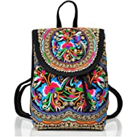 Goodhan Vintage Women Embroidery Ethnic Travel Backpack (Pink)