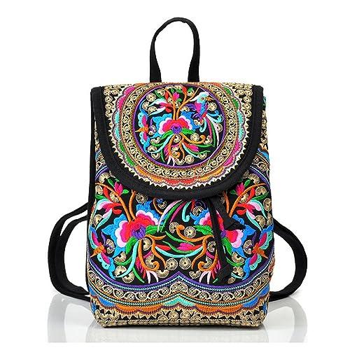 Goodhan Vintage Women Embroidery Ethnic Backpack Travel Handbag Shoulder Bag Mochila