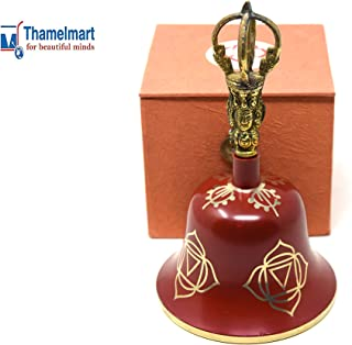 Tibetan Buddhist Meditation Bell Chakra Color - Bell of Enlightenment from Nepal 8 Inches Including free Box … (RED)