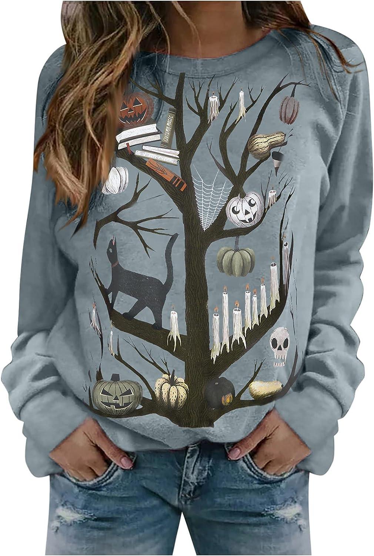 AODONG Halloween Sweatshirts for Women, Womens Long Sleeve Cute Pumpkin Printed Shirts Loose Oversized Pullover Tops