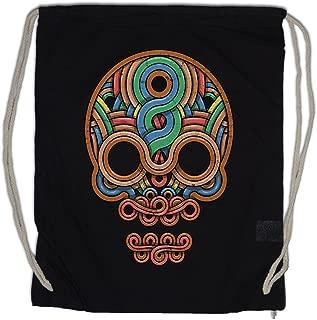 INCA SKULL Drawstring Bag Gym Sack Inka Mayans Maya Aztecs Azteken American Indians Sugar Candy Skull Mexican Tattoo Flash Psychobilly Latino