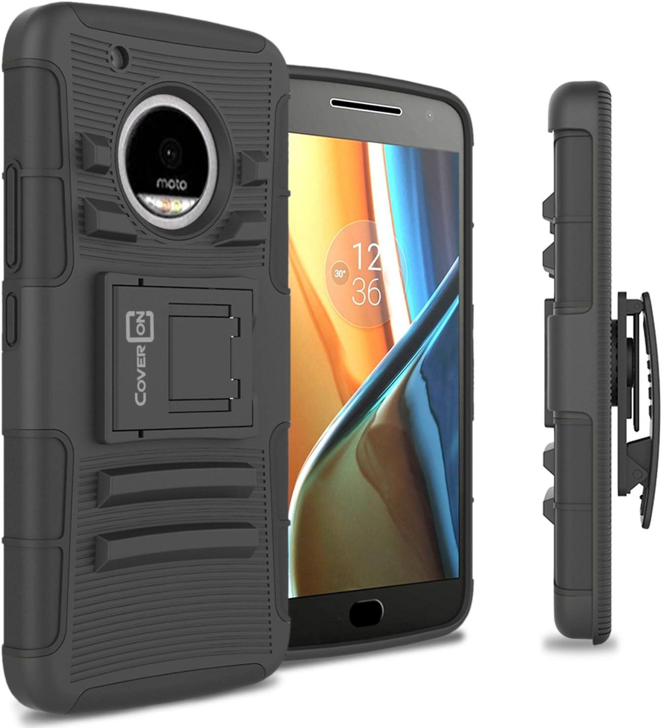 CoverON Kickstand Belt Clip Explorer Series for Motorola Moto G5 Plus/Moto X 2017 Holster Case, Black