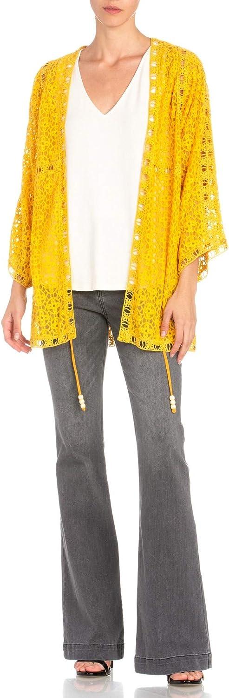 Miss Me Crochet Open Front Cardigan in Yellow MJ0114L