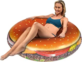 GoFloats Cheeseburger Party Tube - Giant Size Hamburger Pool Float That Will Leave You Hungry for More