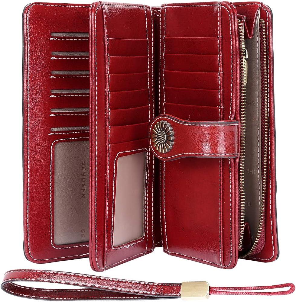 Teuen, porta carte di credito, portafogli da dnna, in vera pelle, rosso, protezione rfid