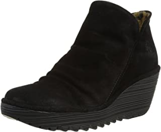 FLY London Yip Black Suede Womens Wedge Ankle Boots