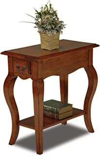 Leick Chair Side End Table, Brown Cherry Finish