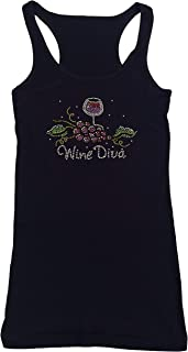 Women's T-Shirt with Wine Diva with Grapes in Rhinestones