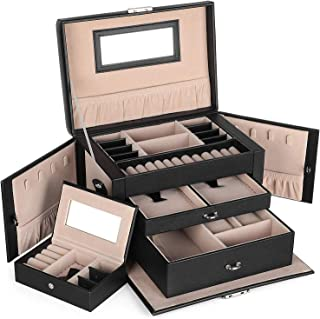 SONGMICS Boîte à bijoux, Organisateur à bijoux avec 2 tiroirs, Coffre à bijoux verrouillable avec miroir, Boîte de voyage ...