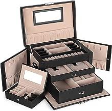 SONGMICS Boîte à bijoux, Coffret à bijoux avec 2 Tiroirs, Coffre à bijoux verrouillable avec Miroir, Boîte de voyage portable, Doublure en velours, Bonne idée Cadeau, Noir JBC121B