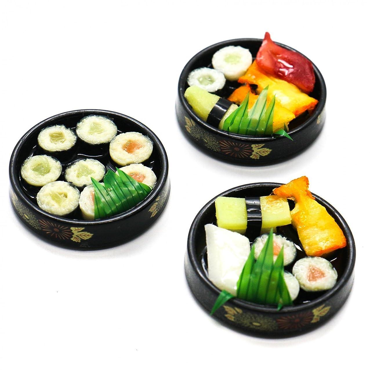 HUELE 3 pcs Realistic Handicraft Sushi Bento Set Dollhouse Miniature Japanese Food Decoration Tableware Play Food Set for Kids acvemfehuraly716