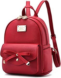 Women Fashion Bowknot Cute Leather Backpack Mini Backpack Purse for Girls
