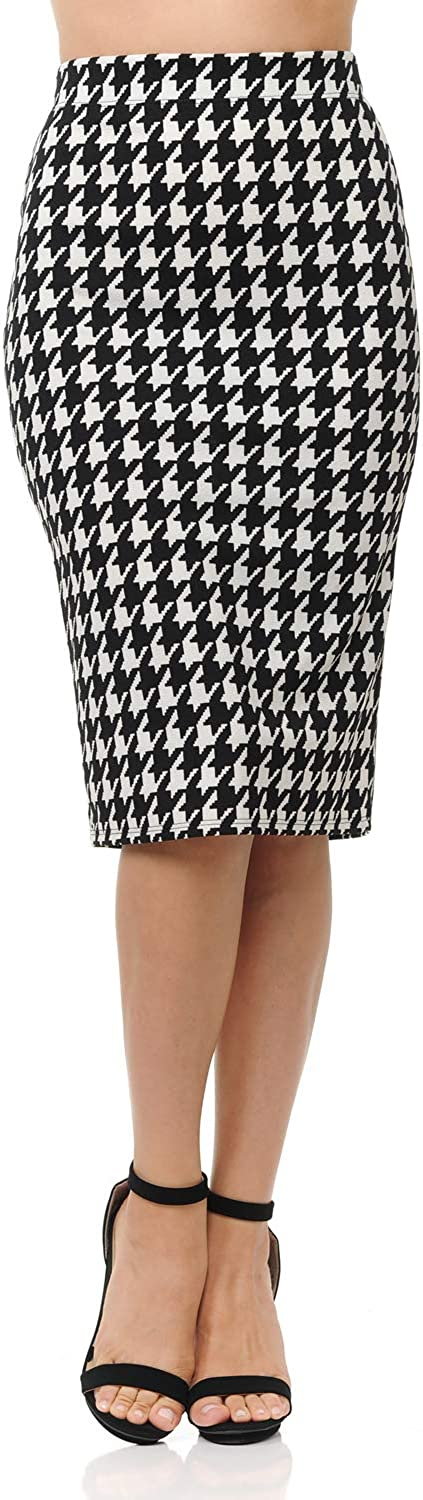 SSOULM Women's Below Knee Stretchy Midi Pencil Skirt for Office Wear with Plus Size